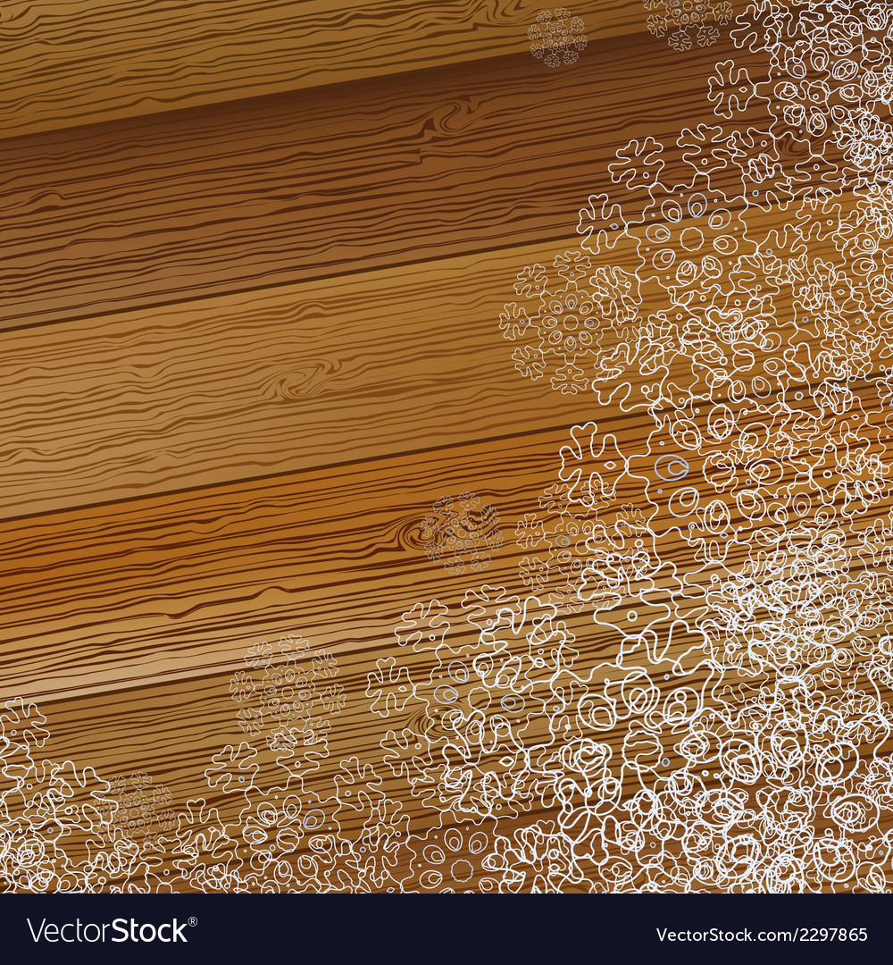 Christmas snowflake on a wooden background  eps8 vector | Price: 1 Credit (USD $1)
