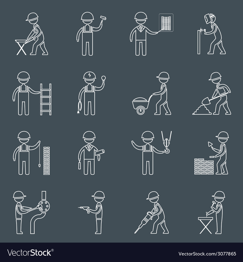 Construction worker icons outline vector | Price: 1 Credit (USD $1)