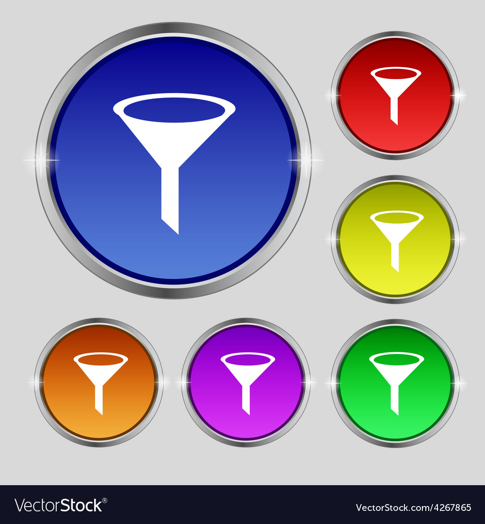 Funnel icon sign round symbol on bright colourful vector | Price: 1 Credit (USD $1)