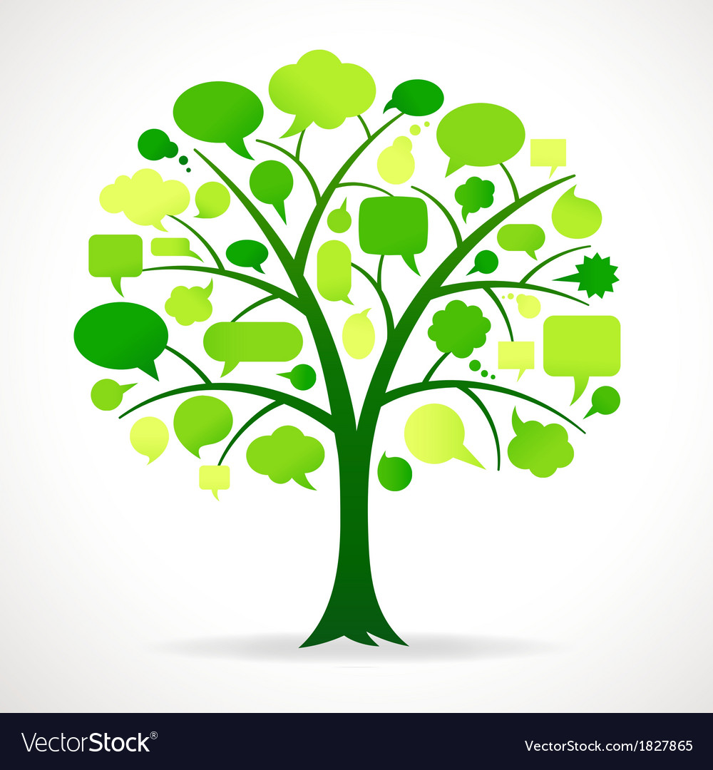 Green single speech bubble tree vector | Price: 1 Credit (USD $1)