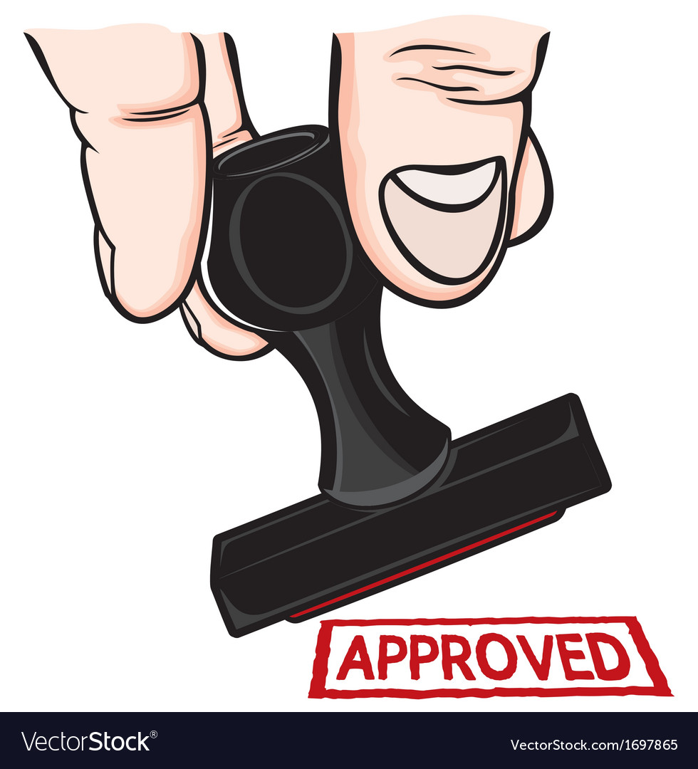 Hand and stamp approved vector   Price: 1 Credit (USD $1)