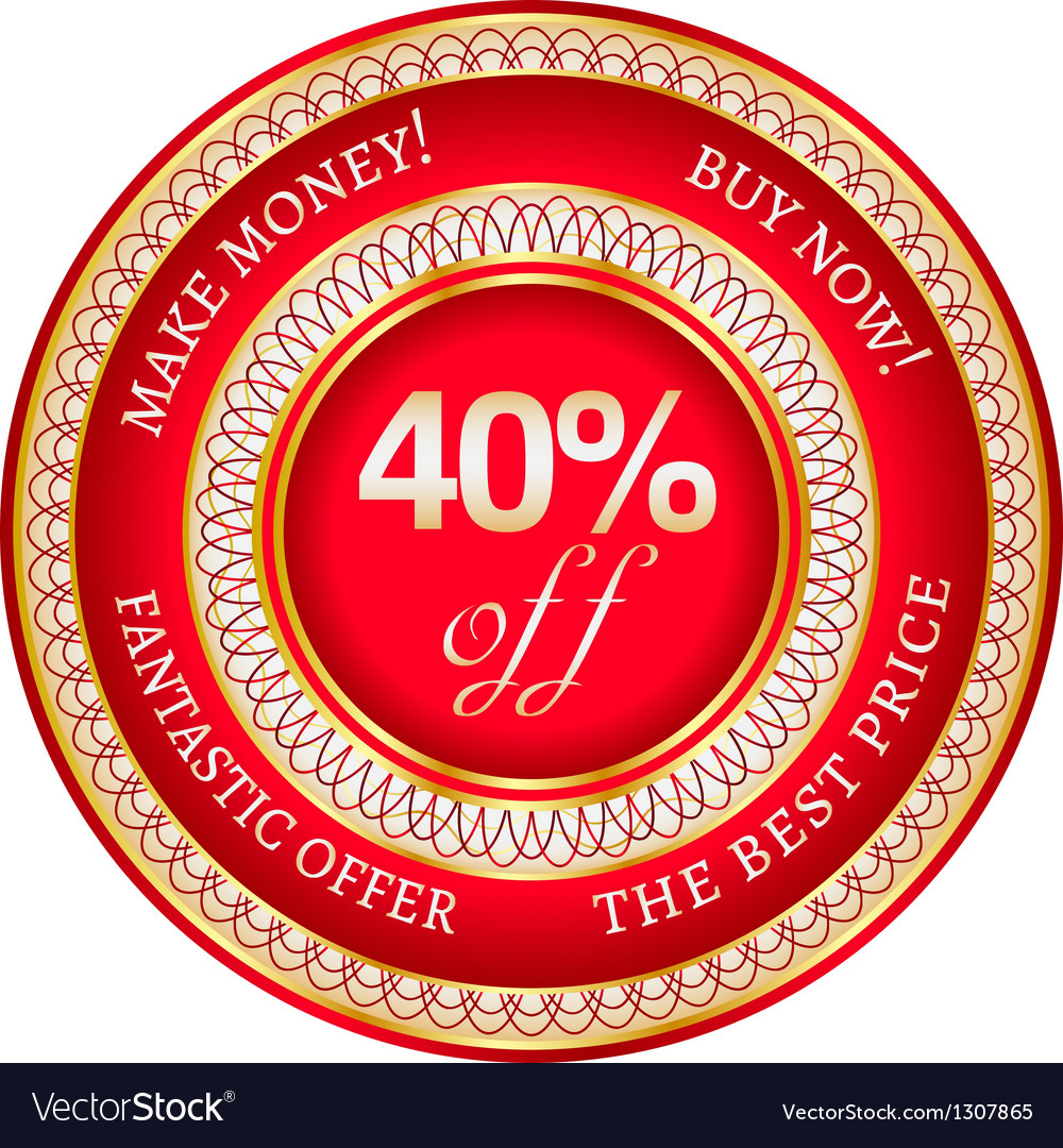 Label on 40 percent discount vector | Price: 1 Credit (USD $1)