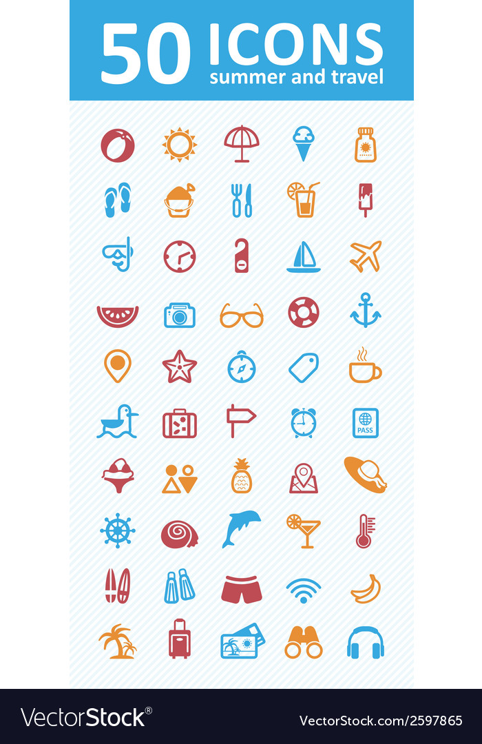 Summer icon set vector | Price: 1 Credit (USD $1)