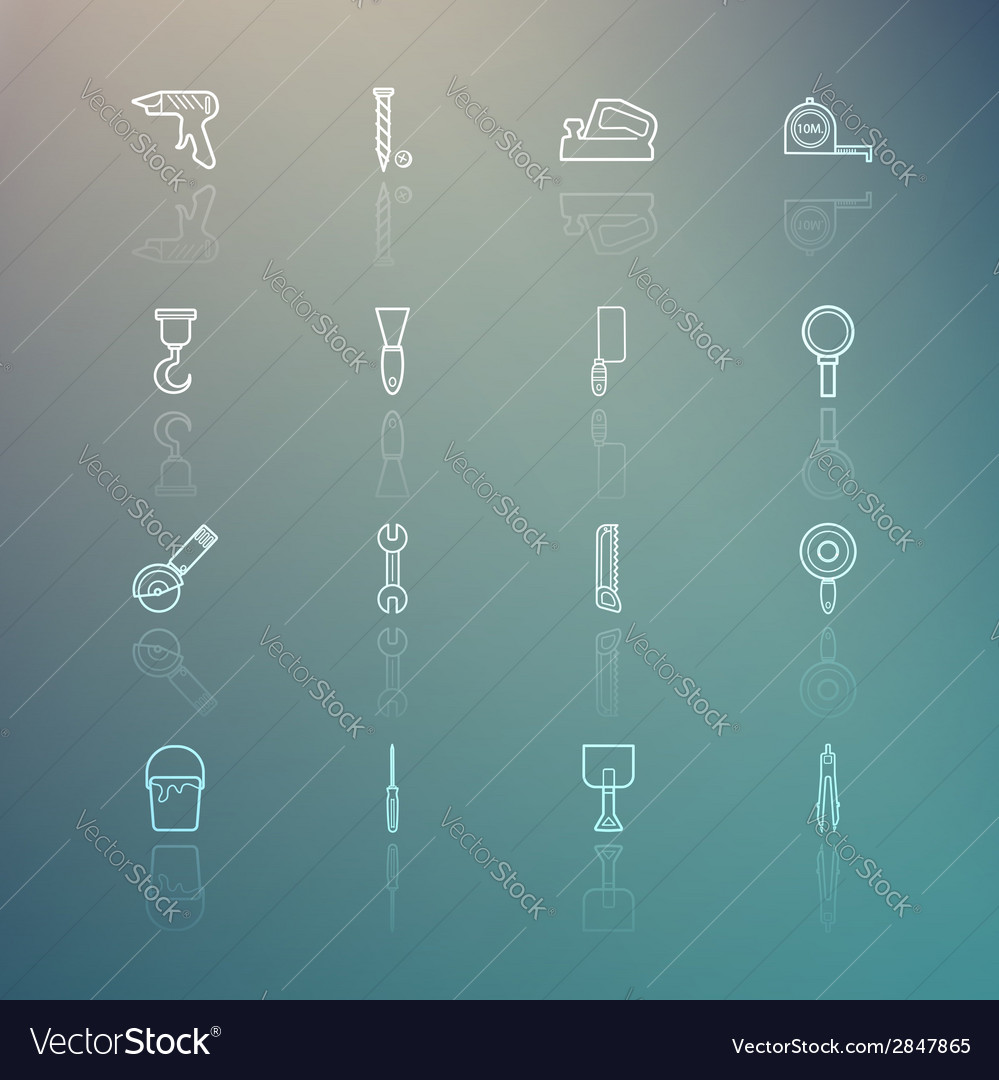 Tools icons on retina background vector | Price: 1 Credit (USD $1)