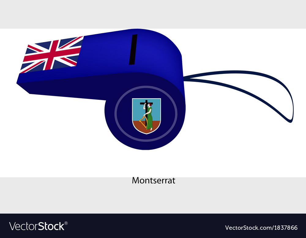 A beautiful blue whistle of montserrat flag vector | Price: 1 Credit (USD $1)