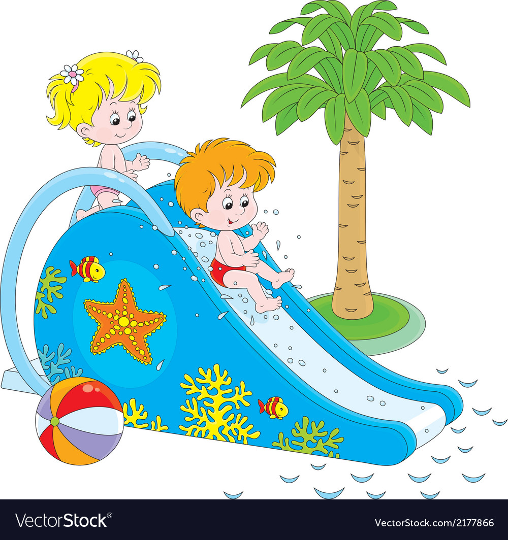 Children on a waterslide vector | Price: 1 Credit (USD $1)