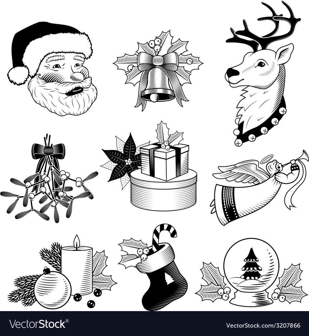 Christmas icons black and white set vector | Price: 1 Credit (USD $1)