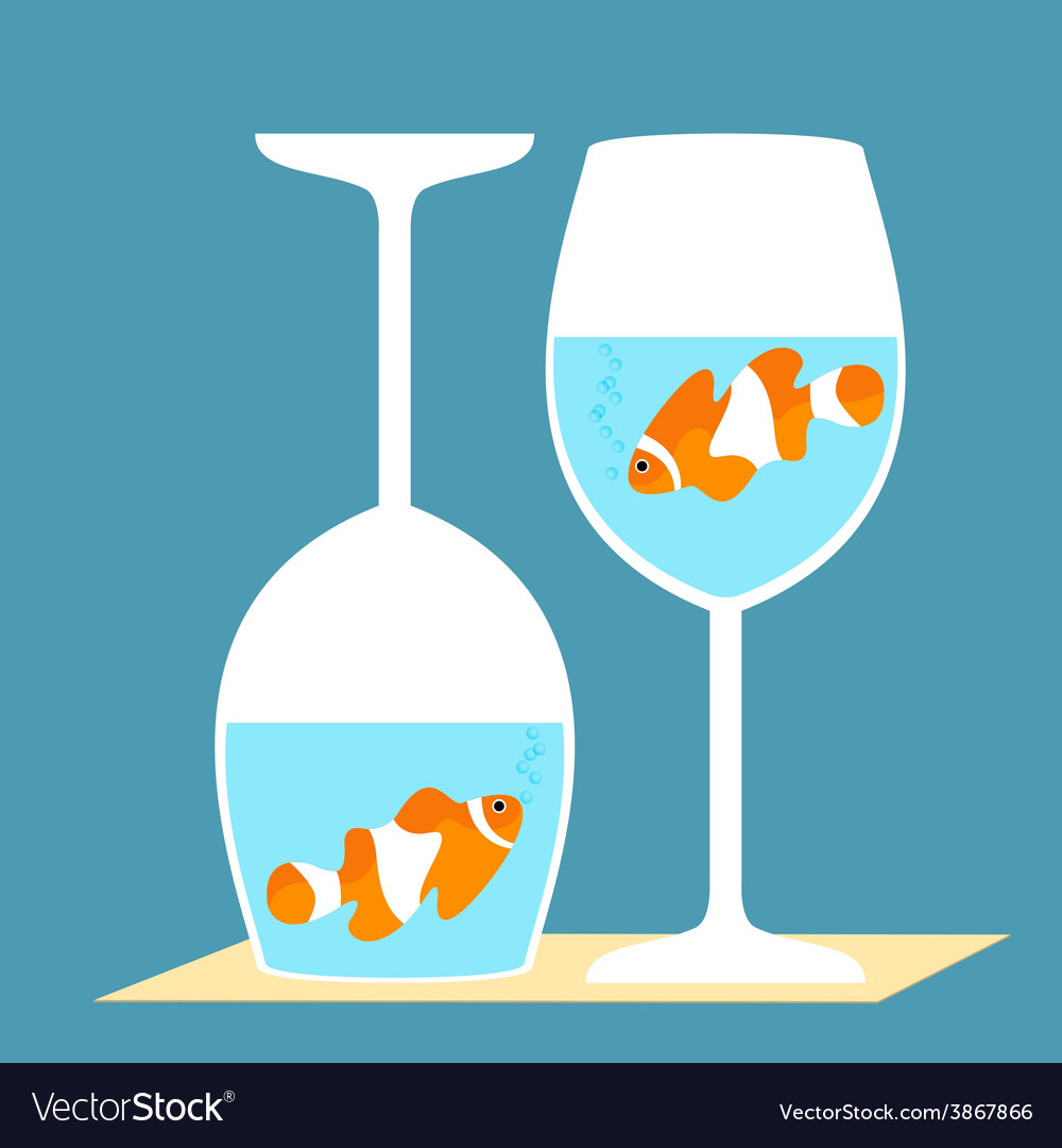 Clownfish in a wine glasses vector | Price: 1 Credit (USD $1)