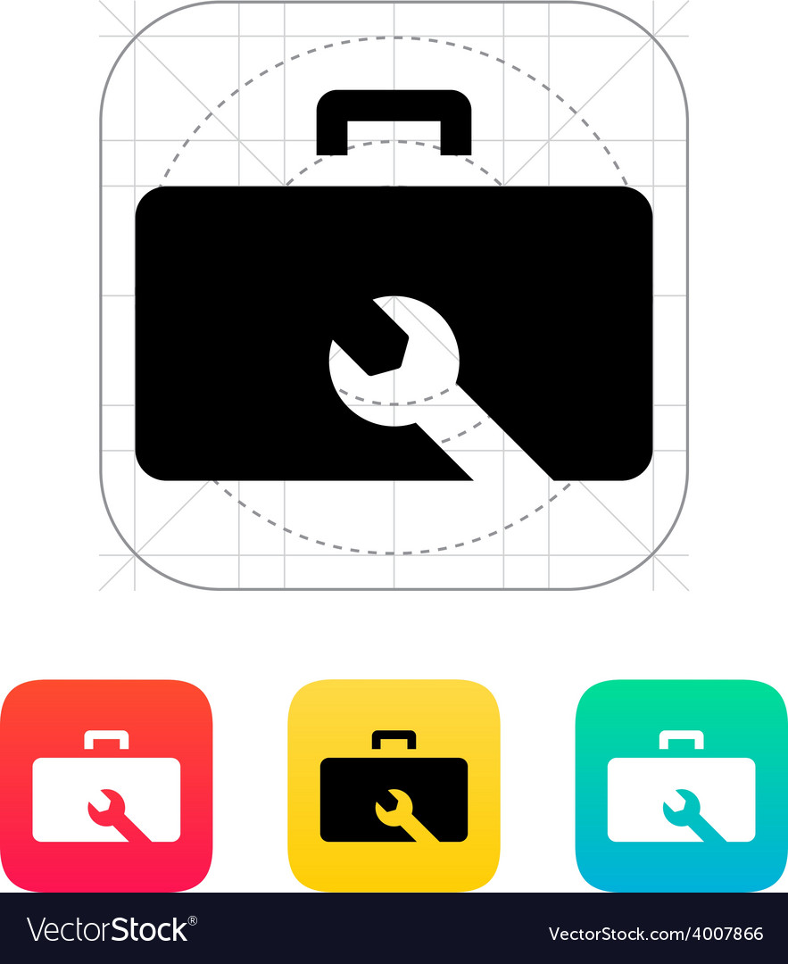 Drone repair kit box icon vector