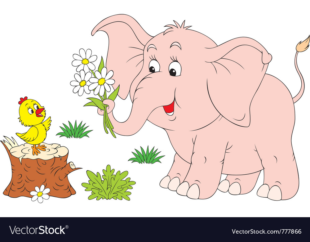 Elephant calf and chick vector | Price: 3 Credit (USD $3)