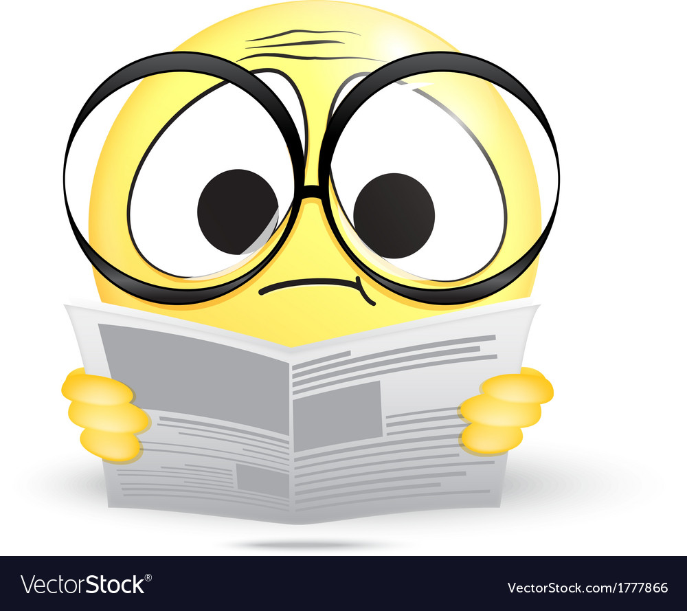 Emoticon confused reading a newspaper vector | Price: 1 Credit (USD $1)