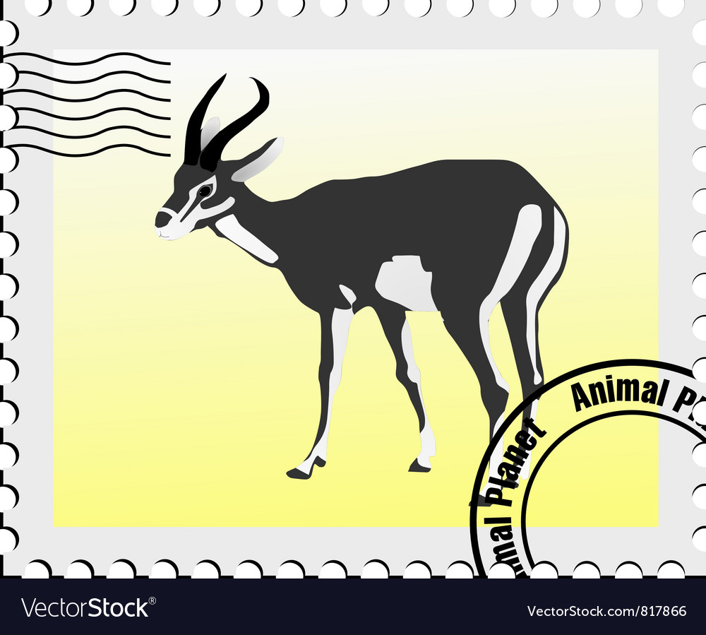 Gazelle stamp vector | Price: 1 Credit (USD $1)