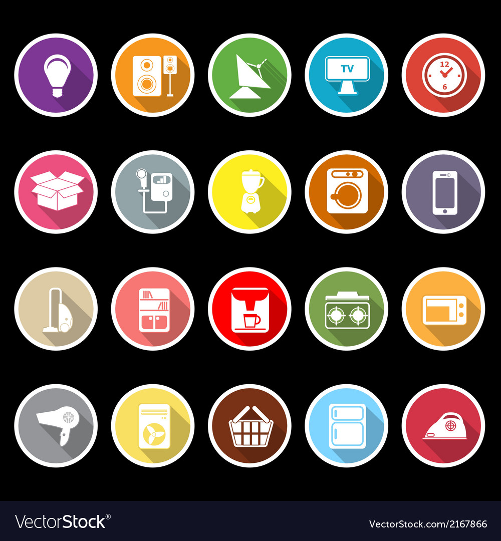 Home related icons with long shadow vector | Price: 1 Credit (USD $1)