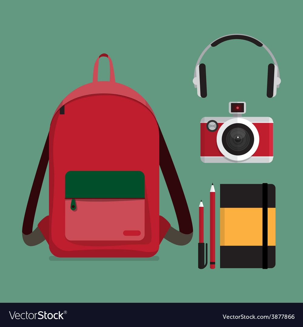 Red backpack with multiple items vector