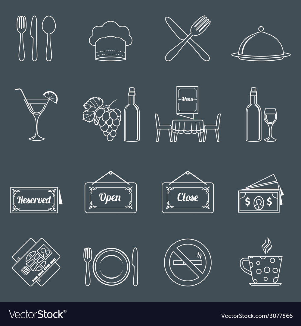 Restaurant icons set outline vector | Price: 1 Credit (USD $1)