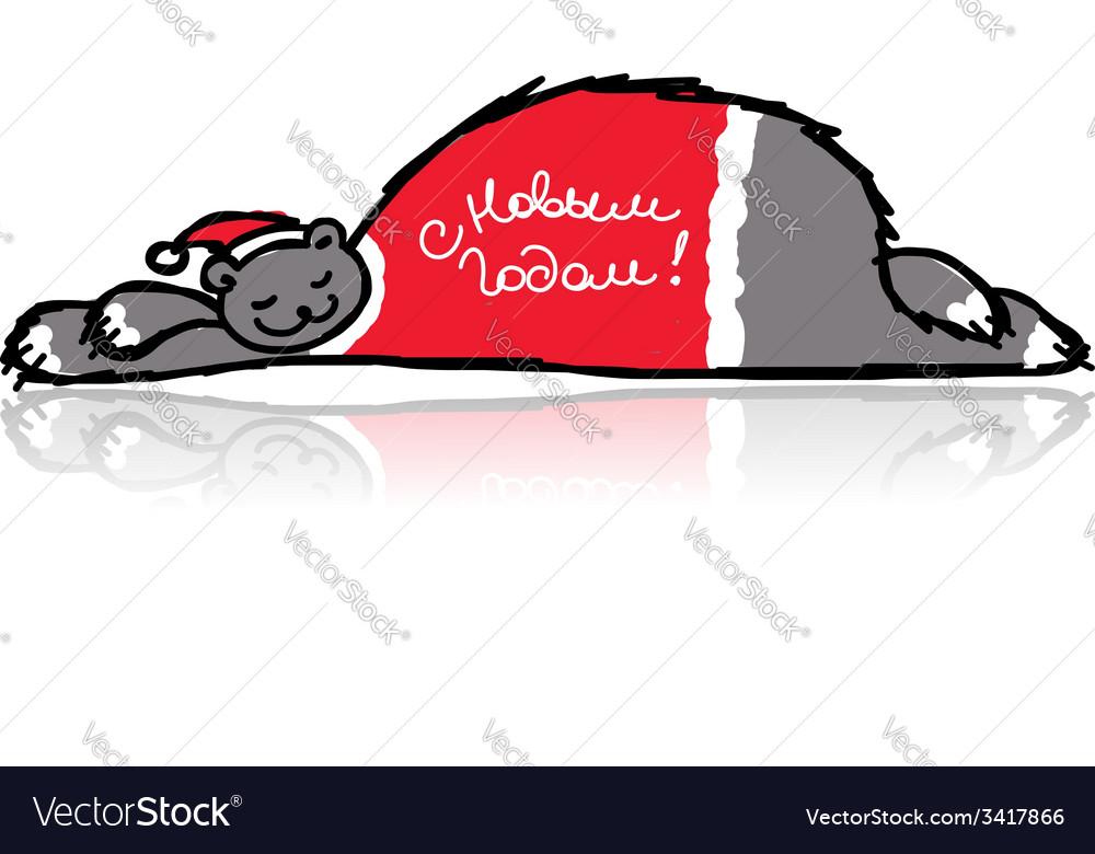 Santa bear sleeping sketch for your design vector   Price: 1 Credit (USD $1)