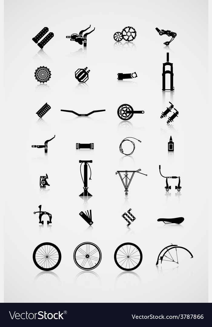 Set of accessories for the bike vector | Price: 1 Credit (USD $1)