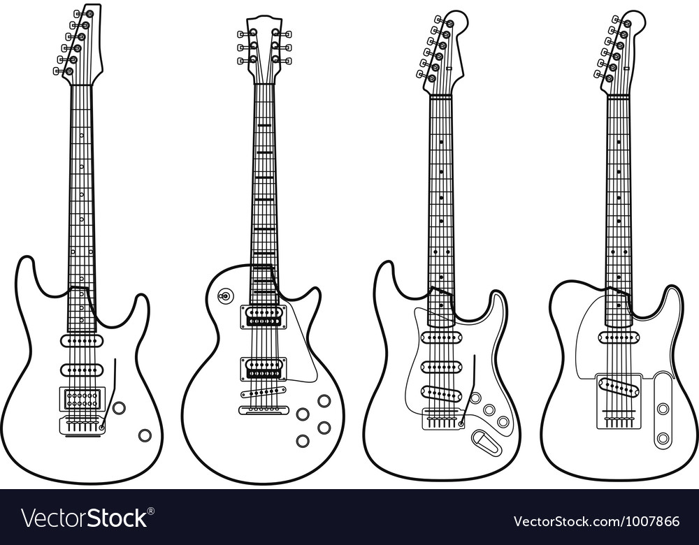 Silhouettes of electric guitars isolated on white vector | Price: 1 Credit (USD $1)