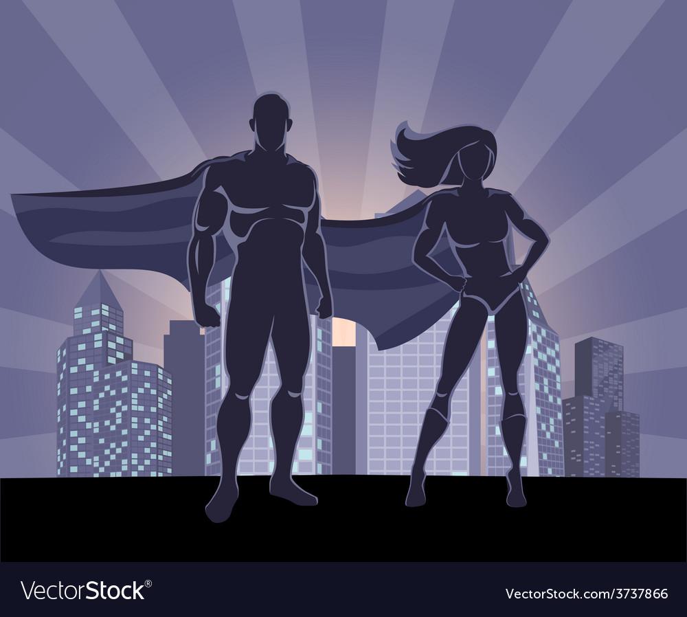 Superhero and female superhero silhouettes vector | Price: 3 Credit (USD $3)