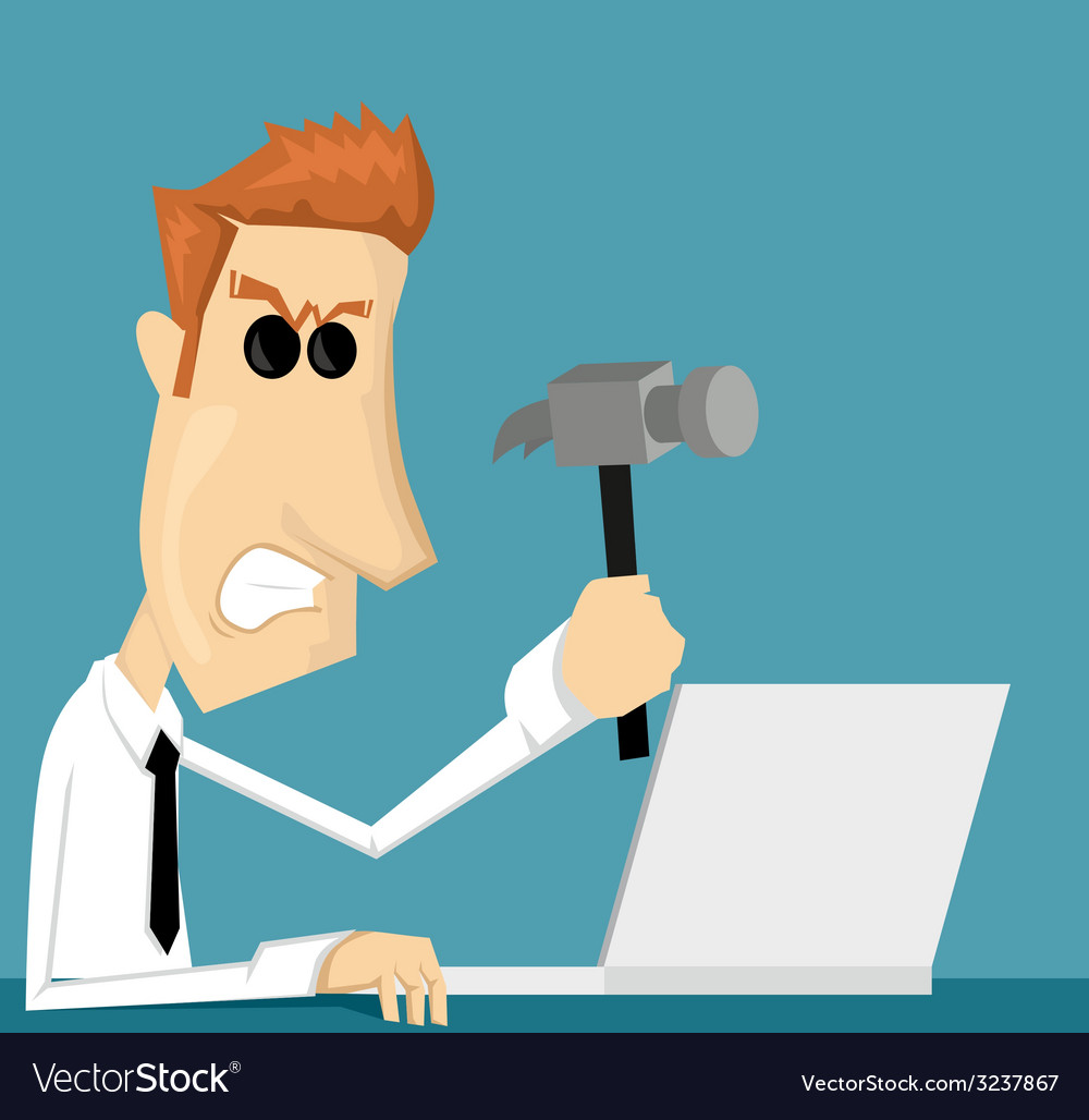Angry cartoon office worker vector | Price: 1 Credit (USD $1)