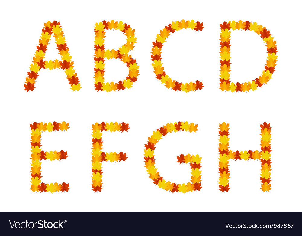 Autumn leaves alphabet letters vector | Price: 1 Credit (USD $1)