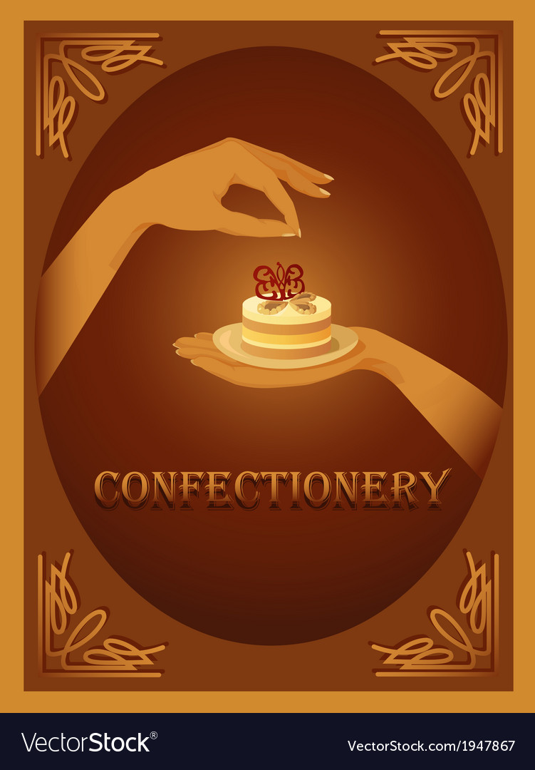Confectionery sign with almond cake vector | Price: 1 Credit (USD $1)
