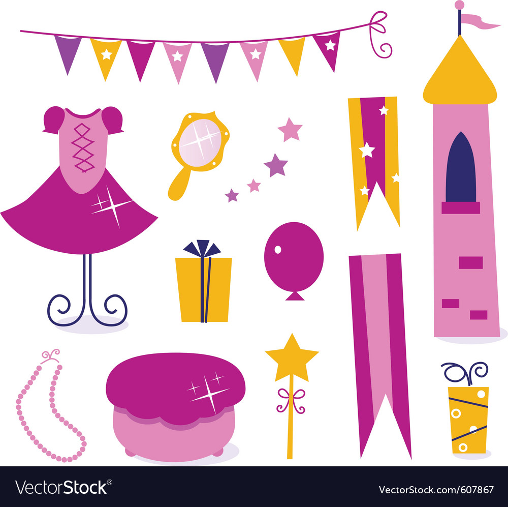 Cute elements for little princess party vector | Price: 1 Credit (USD $1)