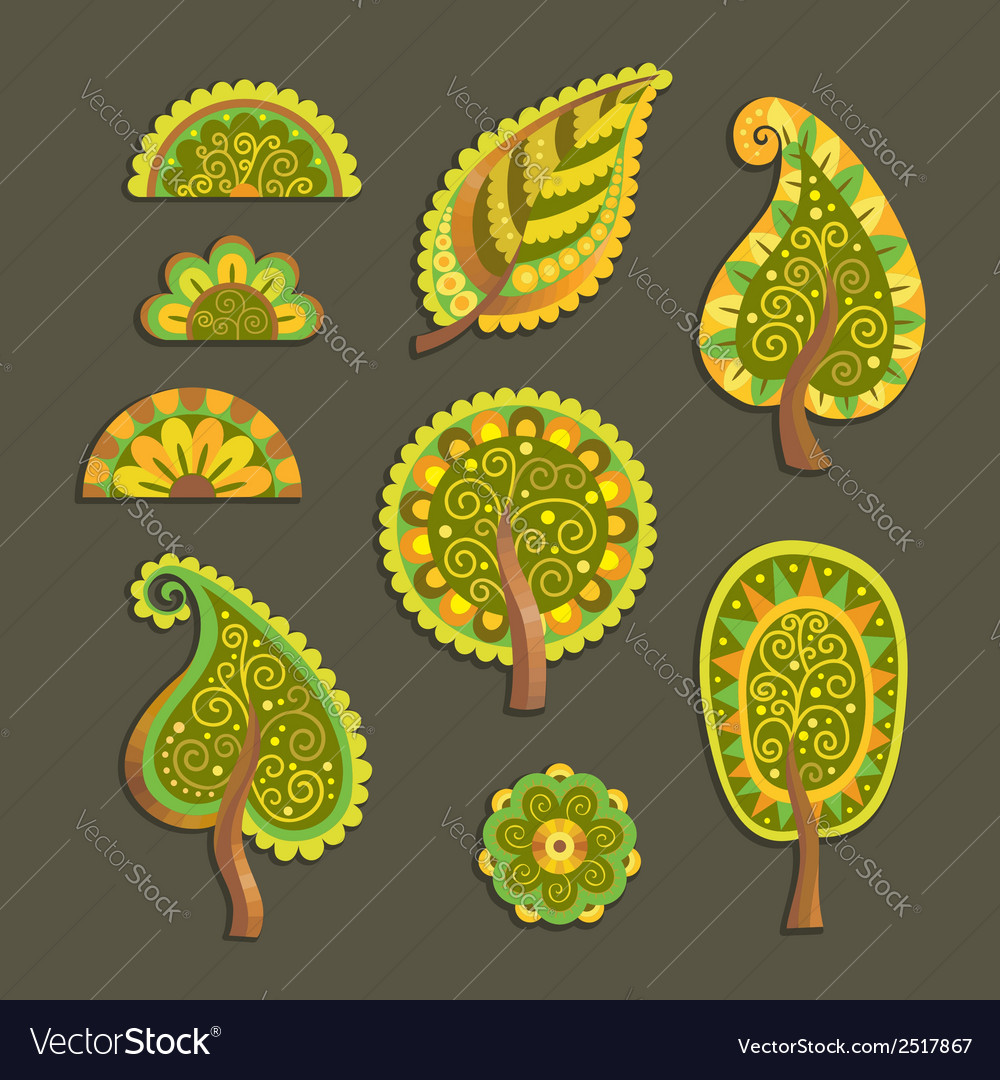 Decorative flat style trees vector | Price: 1 Credit (USD $1)