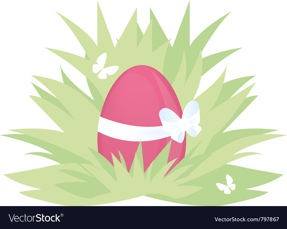 Easter pink egg on green grass with butterfly vector | Price: 1 Credit (USD $1)