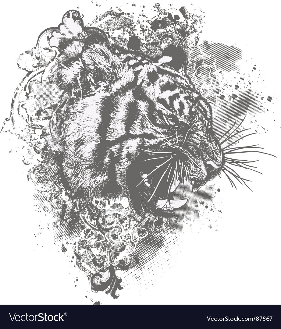 Grunge tiger floral illustration vector | Price: 1 Credit (USD $1)