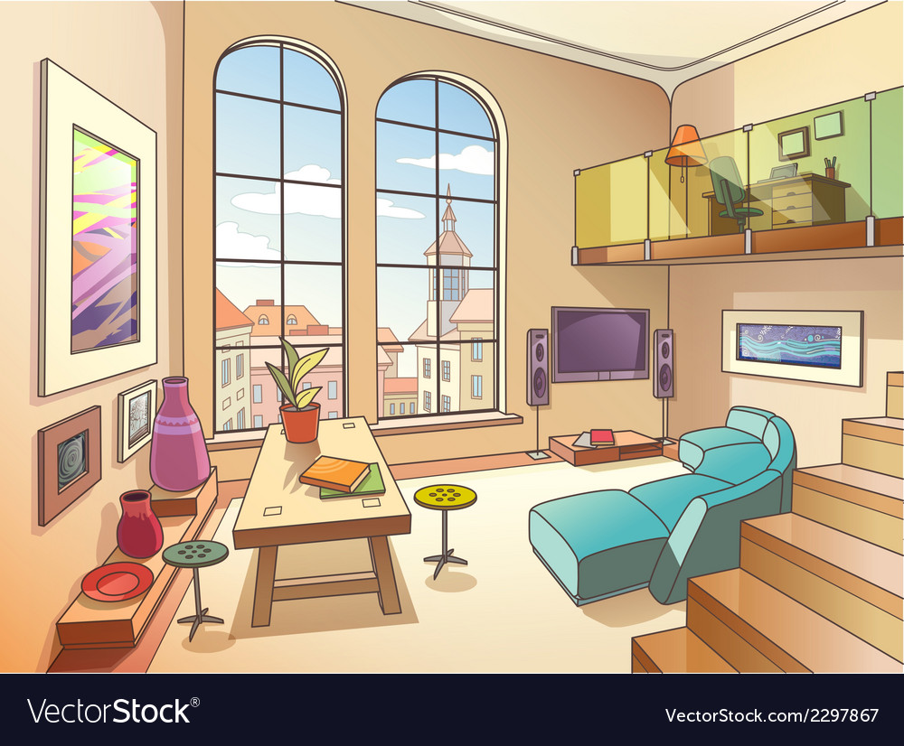 Light living room with a mezzanine vector | Price: 3 Credit (USD $3)