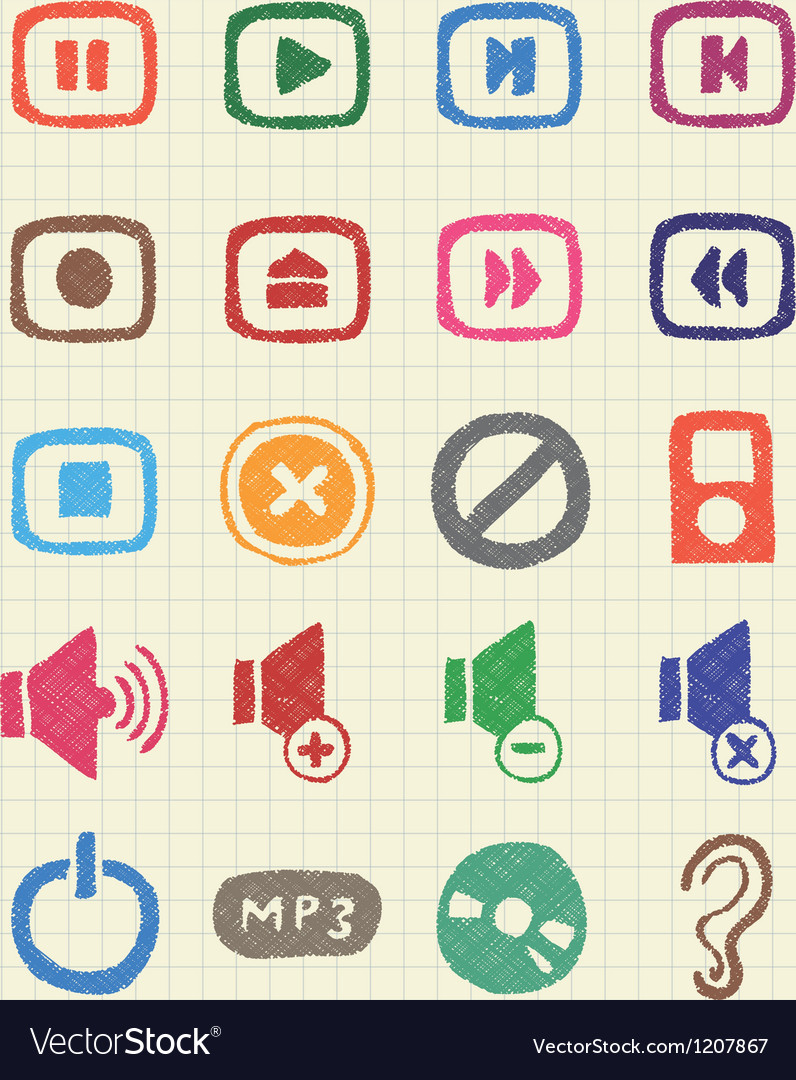 Music and media web icons set vector | Price: 1 Credit (USD $1)
