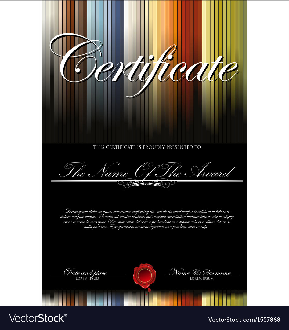 Colorful and black certificate template vector | Price: 1 Credit (USD $1)