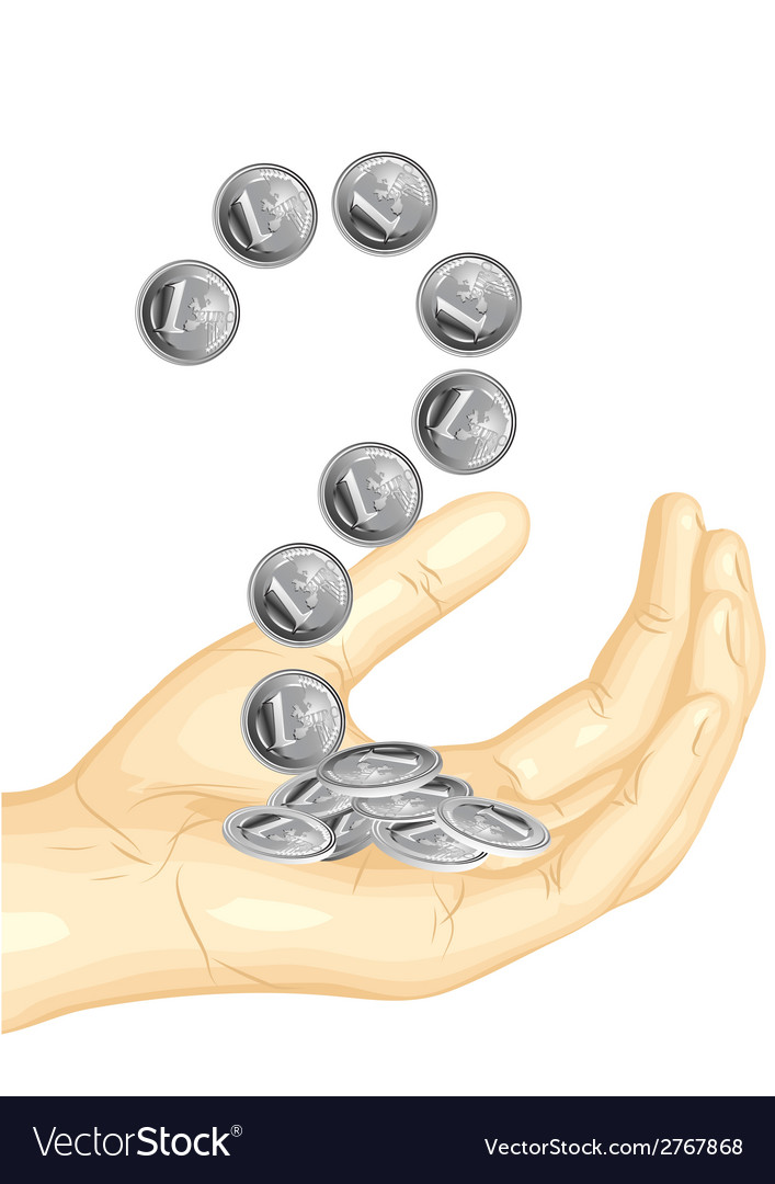 Euro coins in the hand vector | Price: 1 Credit (USD $1)