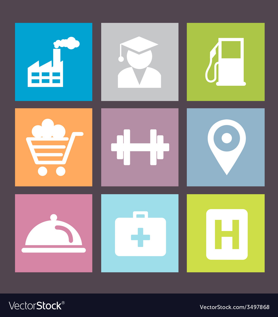 Flat icons vector | Price: 1 Credit (USD $1)