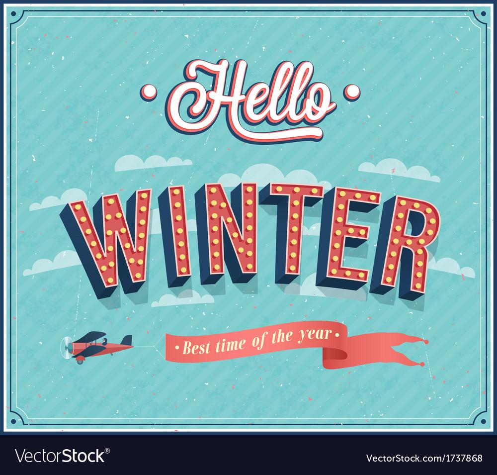 Hello winter typographic design vector   Price: 1 Credit (USD $1)