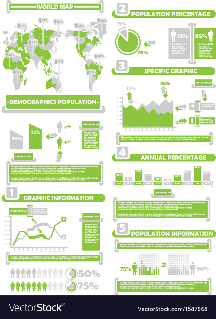 Infographic demograp world percentage green vector | Price: 1 Credit (USD $1)