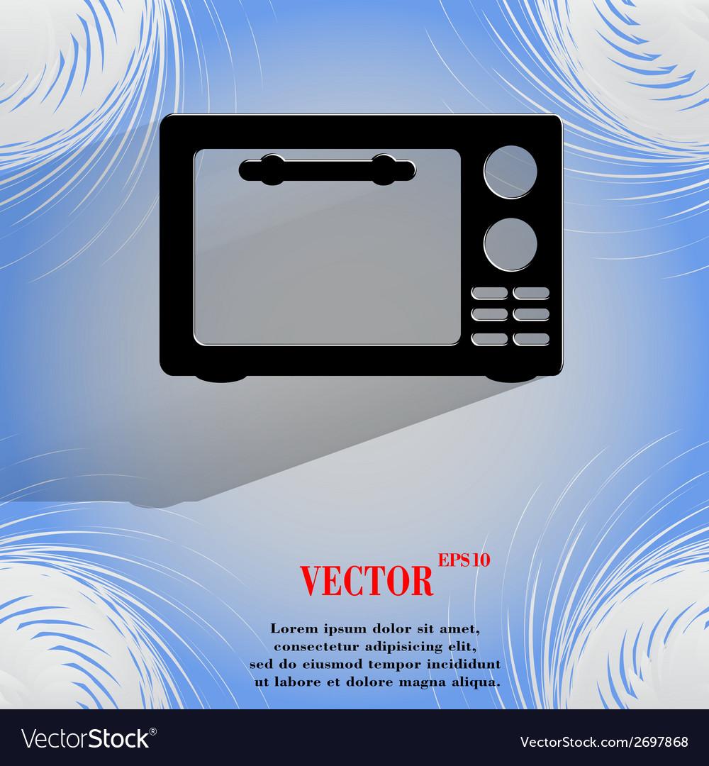 Microwave kitchen equipment flat modern web button vector | Price: 1 Credit (USD $1)