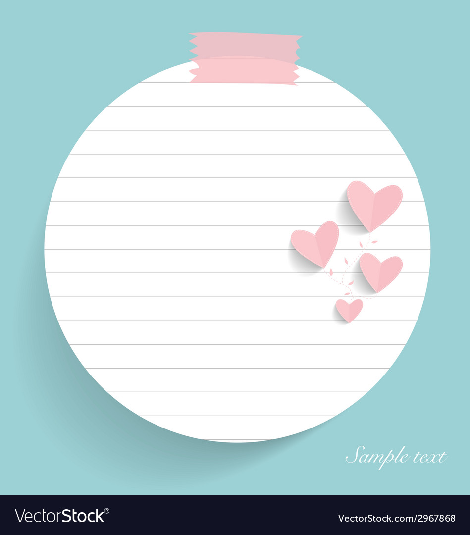 Note paper with hearts vector | Price: 1 Credit (USD $1)
