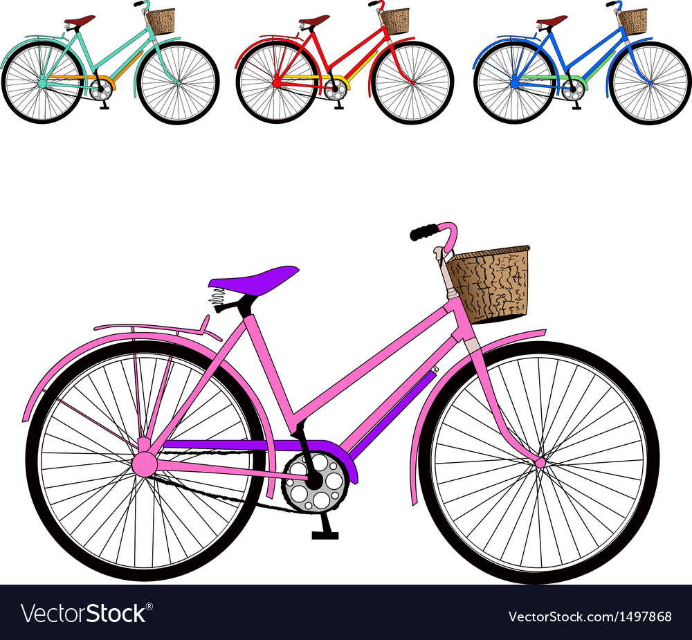 Set of color bicycles vector | Price: 1 Credit (USD $1)