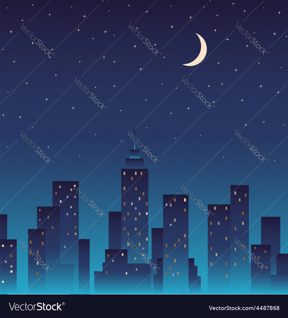 Silhouette of the city and night with stars moon vector | Price: 1 Credit (USD $1)