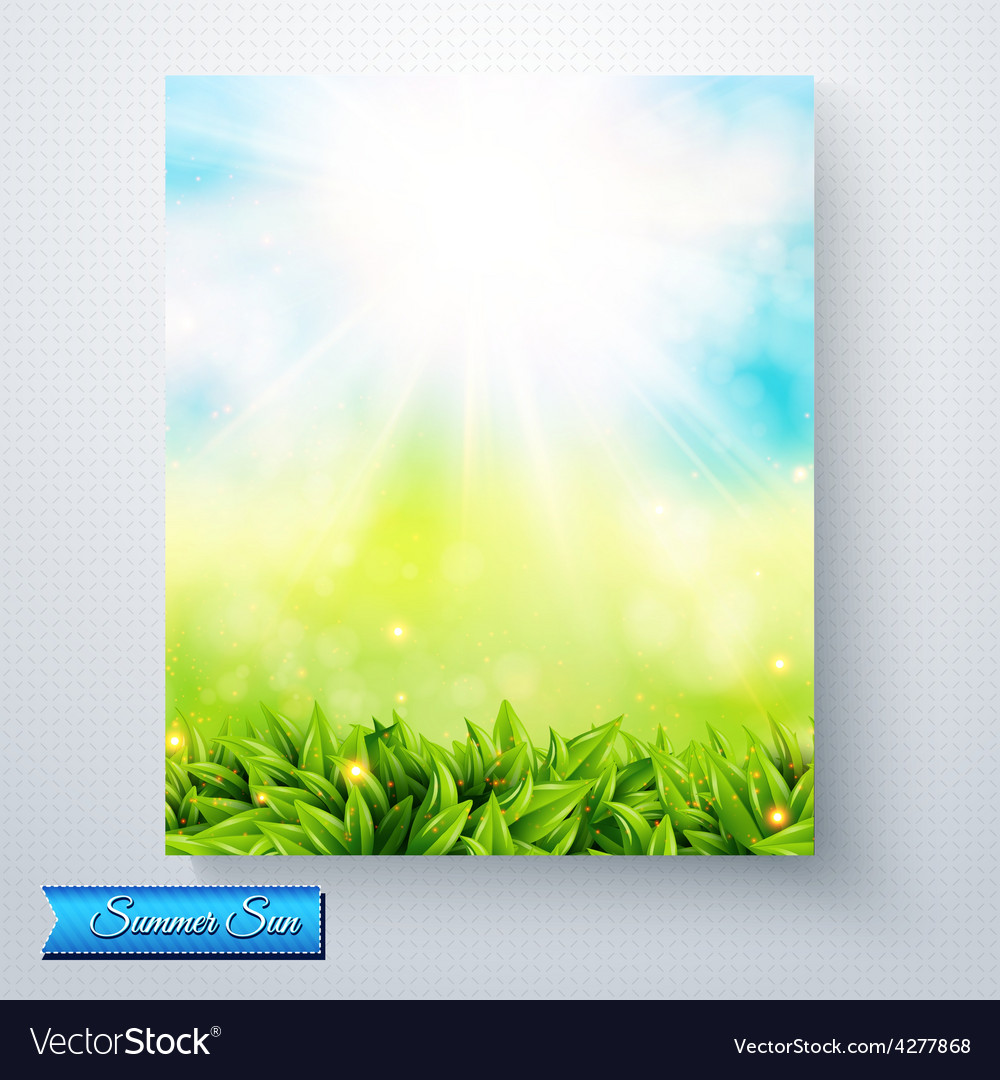 Summer sun burst over a fresh green meadow vector | Price: 1 Credit (USD $1)
