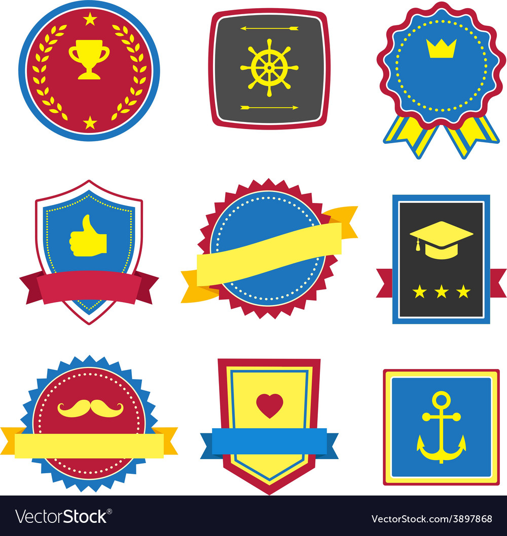 Vintage retro flat badges labels signs vector | Price: 1 Credit (USD $1)