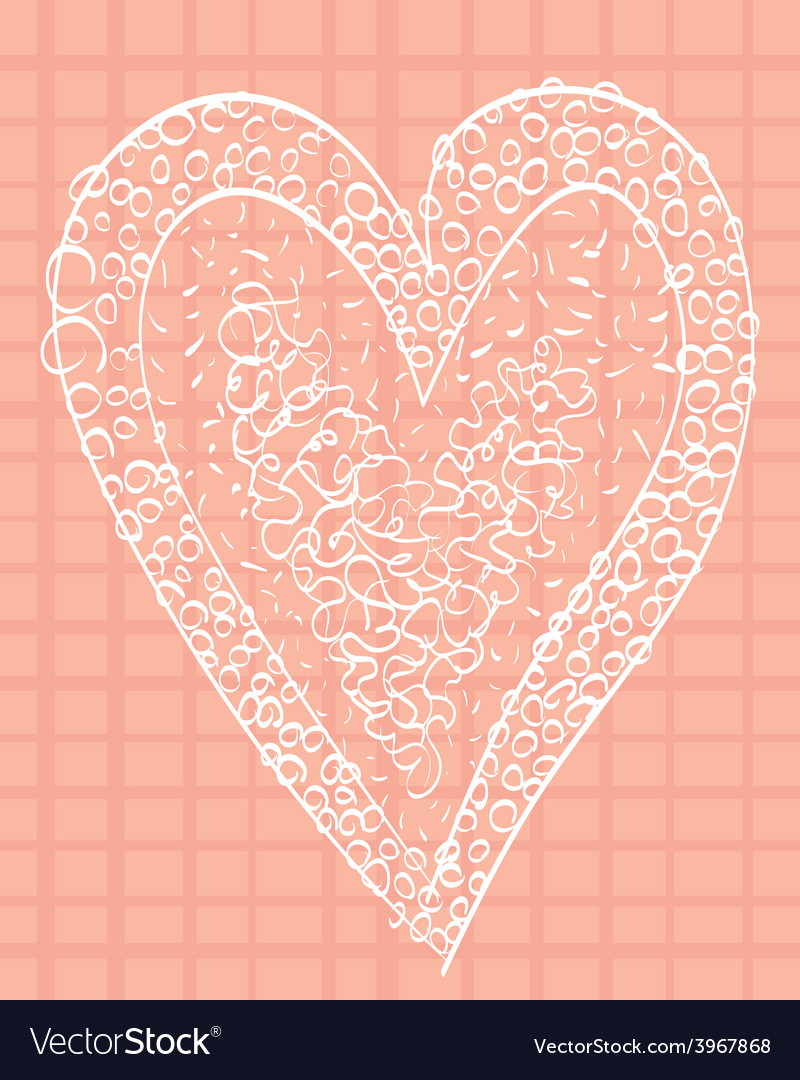 White heart on a pink background squared vector | Price: 1 Credit (USD $1)