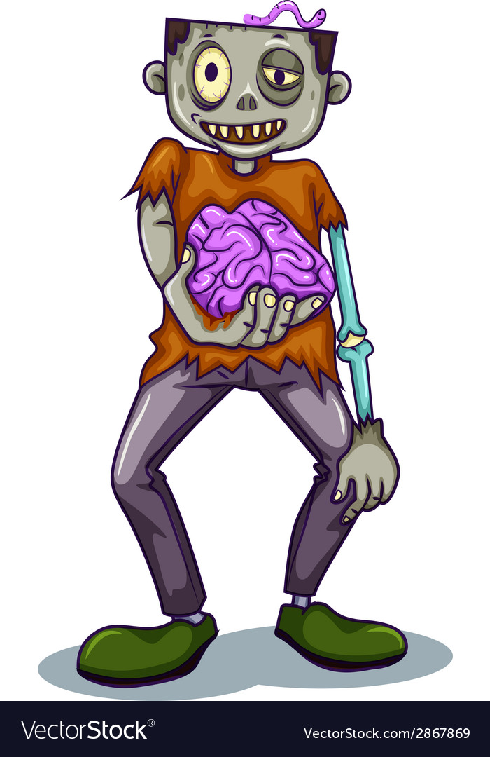 A zombie holding his brain vector   Price: 1 Credit (USD $1)