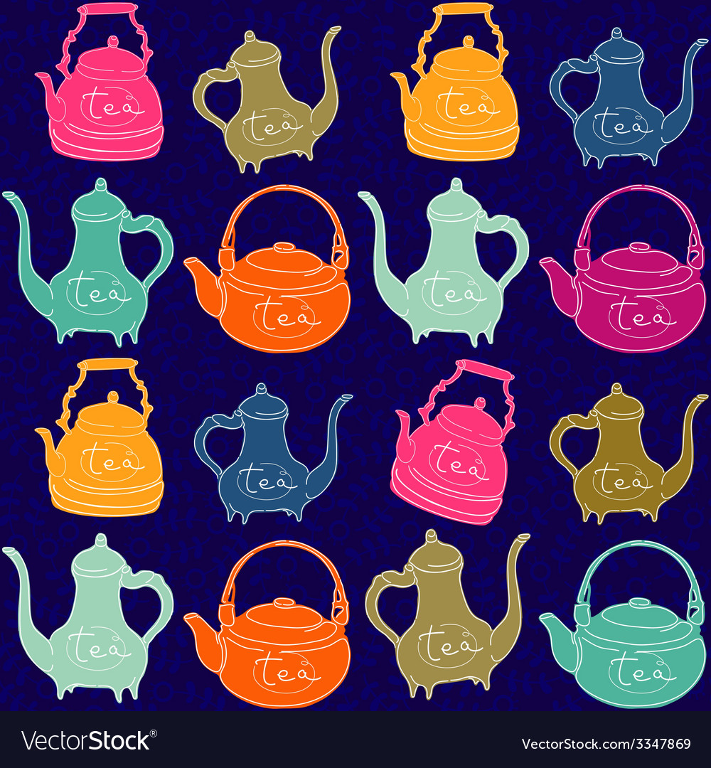 Background with colored teapots funny pattern vector | Price: 1 Credit (USD $1)