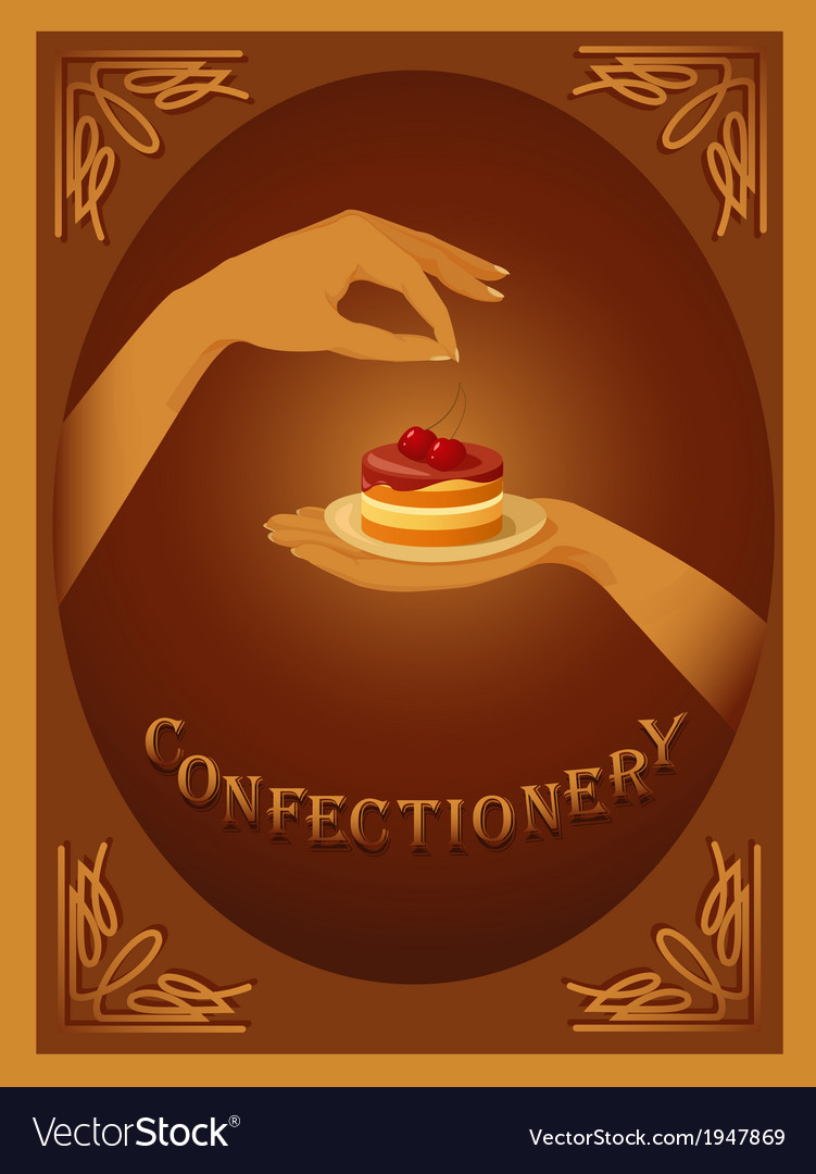 Confectionery sign with cherry cake vector | Price: 1 Credit (USD $1)