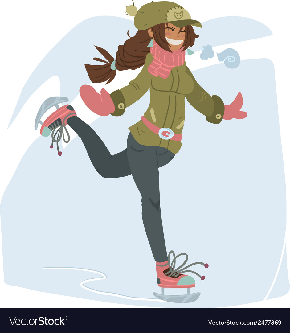 Girl on skates vector | Price: 1 Credit (USD $1)