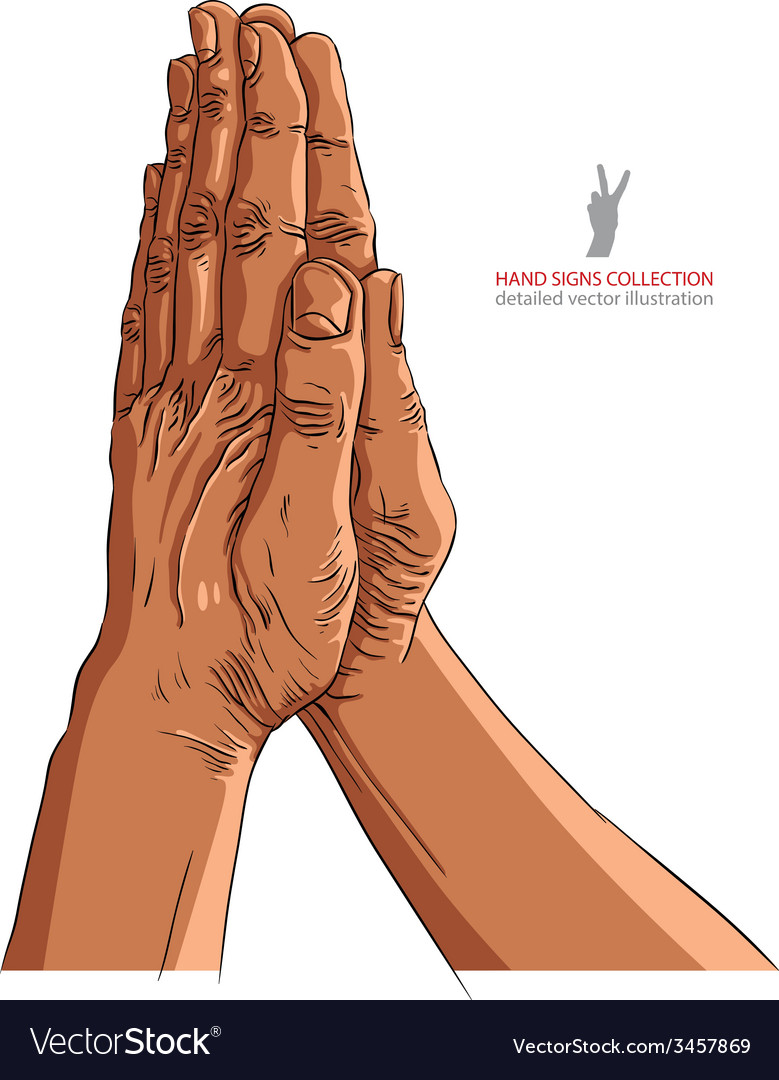 Praying hands african ethnicity detailed vector | Price: 1 Credit (USD $1)