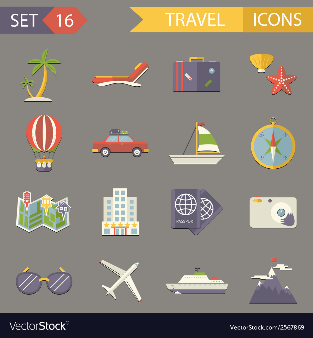 Retro travel rest symbols tourist accessories vector | Price: 1 Credit (USD $1)